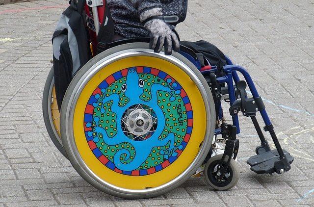 Colourful wheel chair